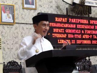 Pimpinan DPRD dan Bupati Gorontalo Tandatangani KUA dan PPS serta APBD-P 2021